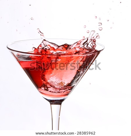 red cocktail on white
