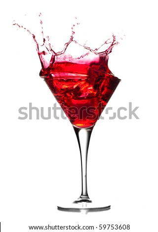 Red cocktail splash on white background.