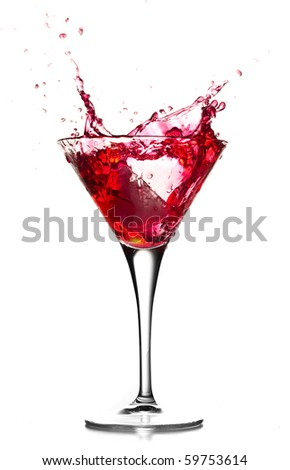 Red cocktail splash on white background.