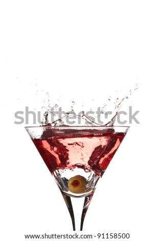 Red Cocktail splashing in high contrast isolated on white