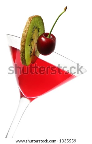 Red cocktail with cherry and kiwi garnish