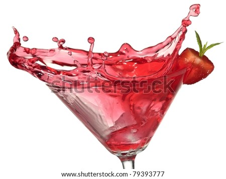Red cocktail with strawberry splash