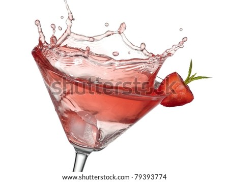 Red cocktail with strawberry up