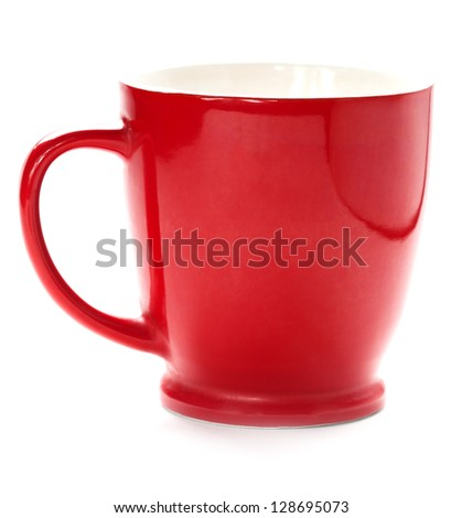 red coffee cup isolated with clipping path included