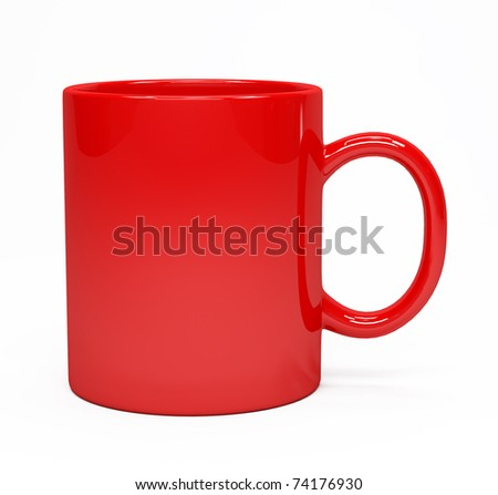 Red coffee mug isolated