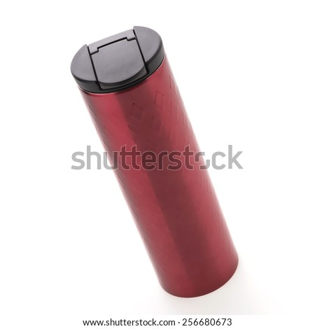 Red coffee tumbler thermos isolated on white background #256680673