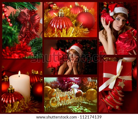 Red collage of Christmas related theme, decorations, winter holiday gifts and woman Santa Helper