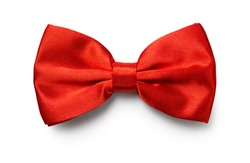 Red color bow tie isolated on white background with clipping path