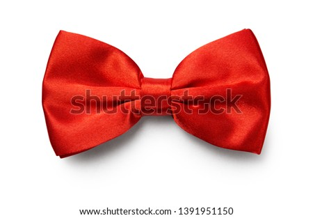 Red color bow tie isolated on white background with clipping path #1391951150