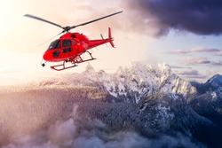Red Color Helicopter flying over the Rocky Mountains during a sunny sunrise. Aerial Landscape from British Columbia, Canada near Vancouver. Epic Adventure Composite