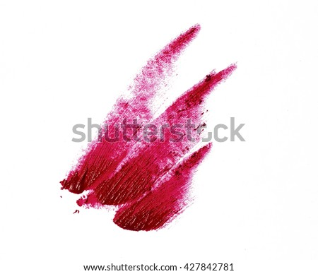 Red color lip gloss brush stroke on background #427842781