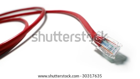 Red Color Network Cable Isolated On White