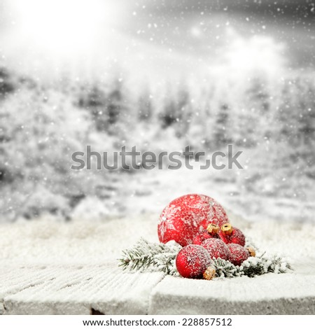 red color of  balls and decoration of holiday