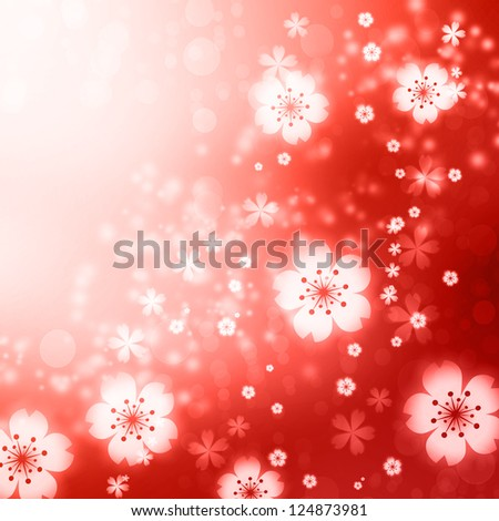 Red colored cherry blossoms background