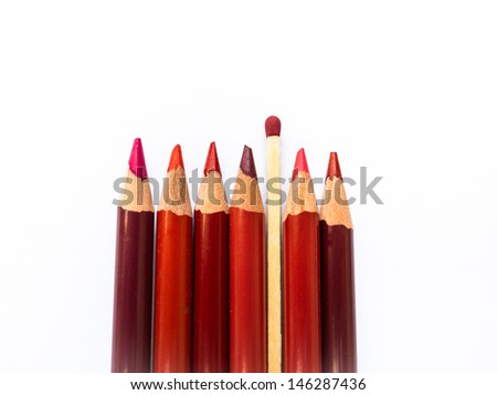 "Red Colored Pencils and Match Stick, ""Playing with Fire"" #146287436"