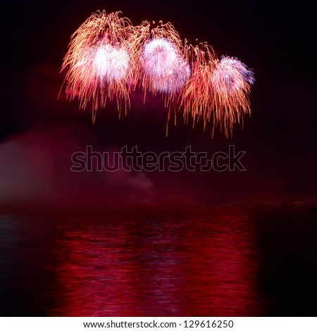 Red colorful holiday fireworks on the black sky background.