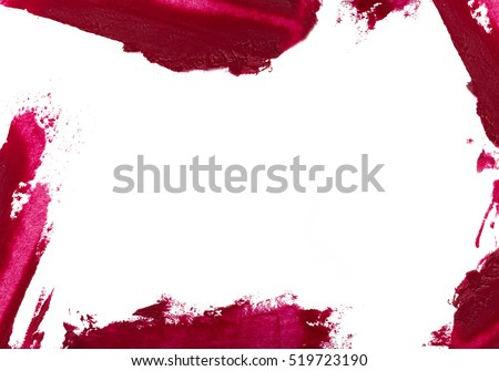 Red colour lipstick stroke around border with empty space