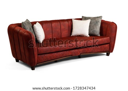 Red comfortable sofa on white background Foto stock ©