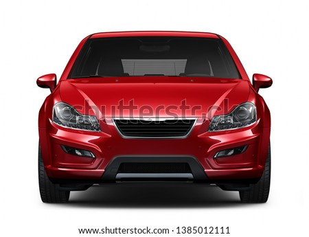Red compact car - front view closeup shot - 3D Illustration   Stockfoto ©