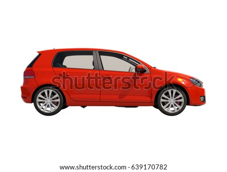 red compact car isolated on...