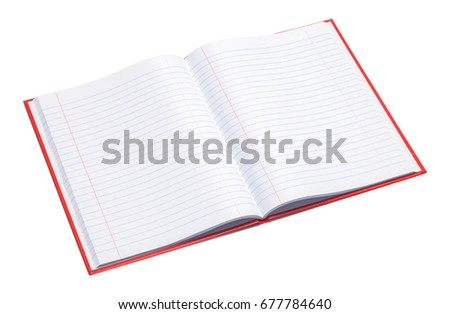 red composition book with line...