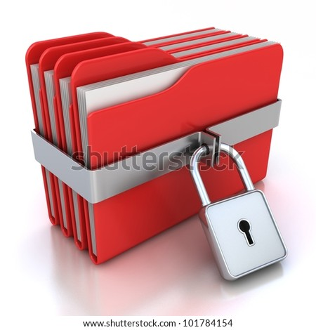 Red computer folders with padlock. 3d image on a white
