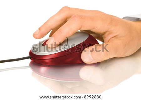 Red computer mouse and hand with reflection