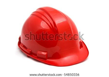 Red construction helmet shot isolated on white