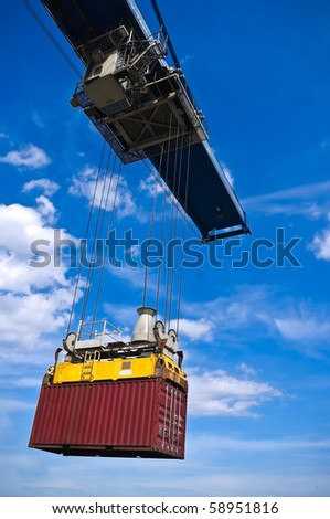 red container box on cargo operation