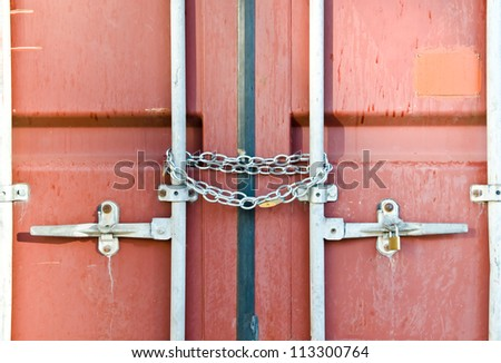 Red container locked by chain