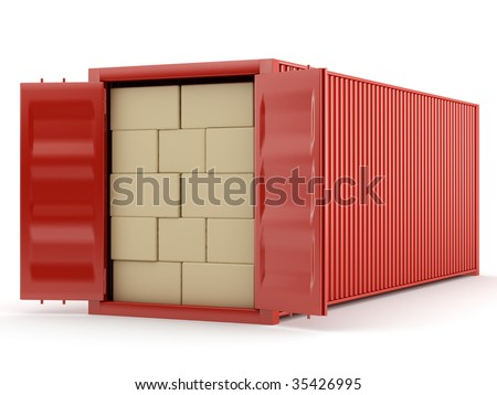 red container with boxes on white background