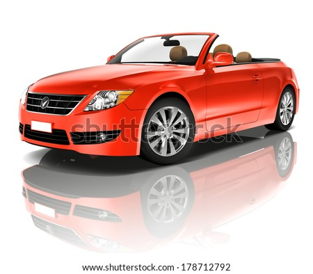 Red Convertible 3D Car