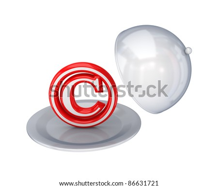 Red copyright symbol on a dish.Isolated on white background. 3d rendered.