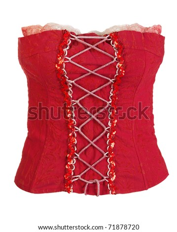 red corset female isolated on a white background
