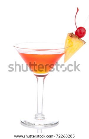 Red Cosmopolitan martinis cocktail with vodka, rum,  liqueur, lemon juice, pineapple, maraschino cherry in martini glass isolated on a white background