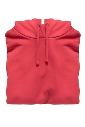 Red cotton folded hoody sweatshirt isolated over white