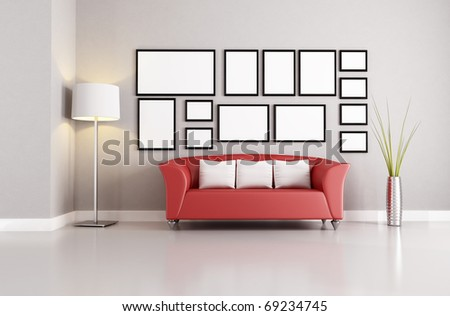 red couch in a minimalist living room - rendering