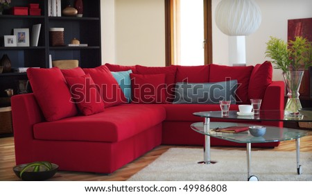 red couch in modern living room