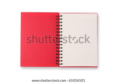 Red Cover Of Open Blank Page Note Book Isolate On White Background