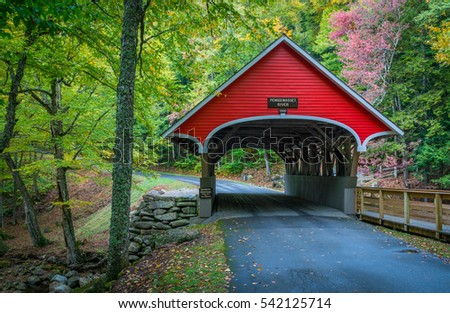 Red covered bridge in the White Mountains of New Hampshire.