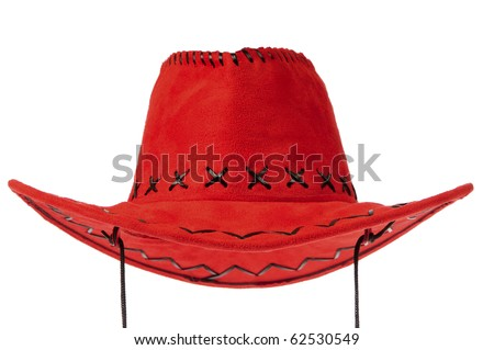 Red cowboy hat in front on white background.