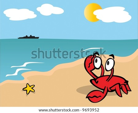 red crab on beach looking at ship on the ocean's horizon on a sunny day