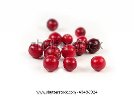 Red cranberry isolated on white background