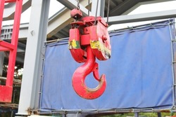 red crane hook  Used for lifting heavy objects.  for construction