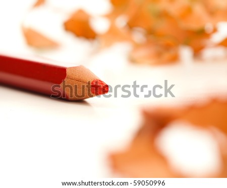 red crayon and shavings