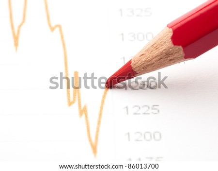 red crayon painting a graph line closeup
