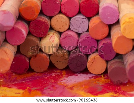 red crayons - stock photo