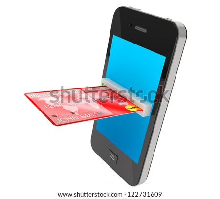 Red Credit Card and modern mobile phone on a white background