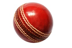 Red Cricket Ball Close up Picture in White Background
