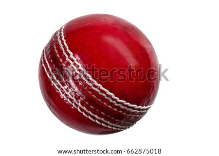 Stock Photo red cricket ball isolated on white